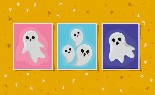 Halloween ghosts cartoons in frames design, holiday and scary theme