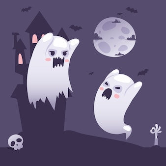 Halloween ghosts outside a haunted old castle at night cartoon style