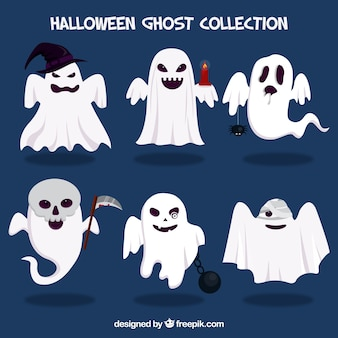 Halloween ghosts with accessories