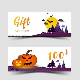 Halloween gift vouchers set