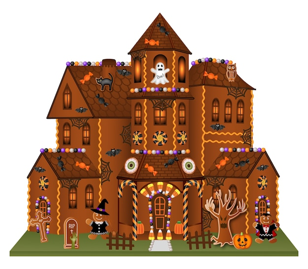 Halloween gingerbread big house with cookies and candies