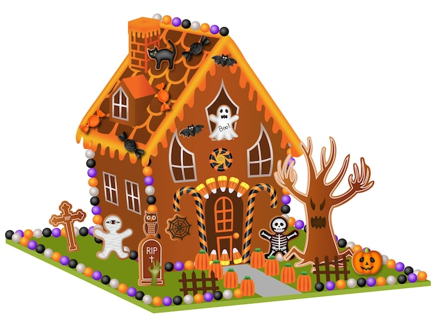 Halloween gingerbread house with candies and cookies