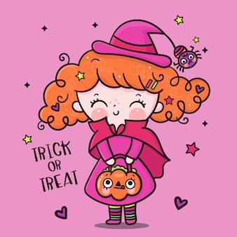 Halloween girl cartoon wear witch dress with pumpkin bucket