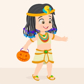 Halloween girl dressed as cleopatra