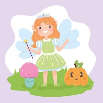 Halloween girl in fairy costume and pumpkin