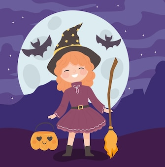 Halloween girl witch costume with broom and pumpkin