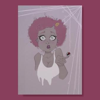 Ragazza di halloween con il ragno al dito