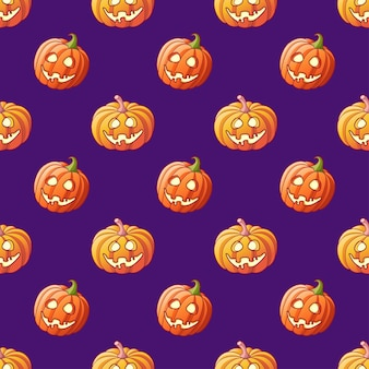 Хэллоуин светящиеся тыквы бесшовные модели на фиолетовом фоне мультфильм хэллоуин джек фонарь