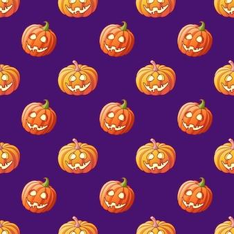 Halloween glowing pumpkins seamless pattern on violet background cartoon halloween jack lantern