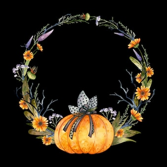 Готический акварельный венок на хэллоуин с тыквой и осенними цветами