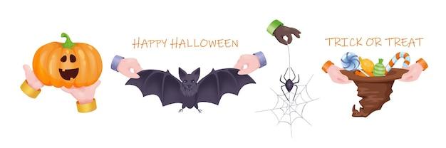 ハロウィングラフィックコンセプトハンドセット。人間の手は、不気味なカボチャ、怖いコウモリ、ウェブのクモ、お菓子やキャンディーの帽子を持っています。休日のお祝いのシンボル。 3dの現実的なオブジェクトとベクトル図