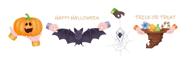 Halloween graphic concept hands set. human hands hold creepy pumpkin, scary bat, spider in web, hat with sweets and candies. holiday celebration symbols. vector illustration with 3d realistic objects