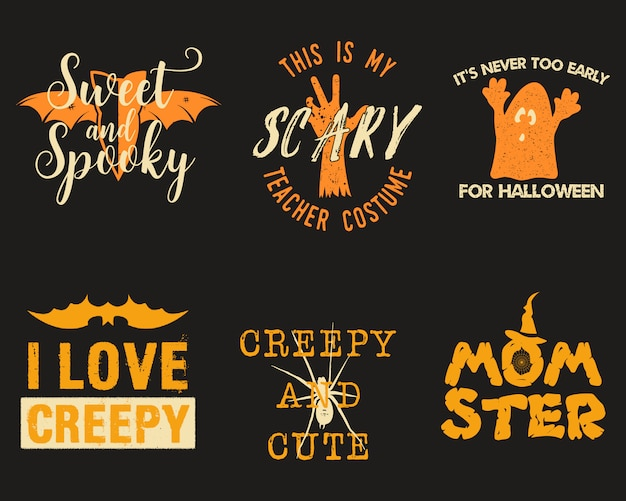 Halloween graphic prints set for t shirt, costumes and decorations.