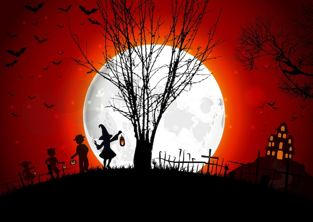 Halloween grave on full moon background with a little girls