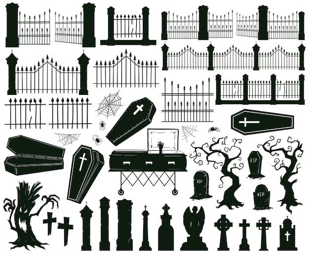 Halloween graveyard silhouettes creepy gravestones tombstones and scary fences vector set