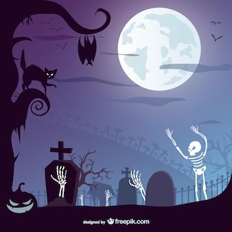 Хэллоуин кладбище вектор дизайн