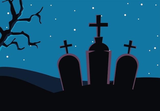 ハロウィーンの墓地の墓墓地のシーン