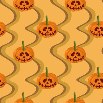 Halloween green frankenstein and web spider seamless pattern