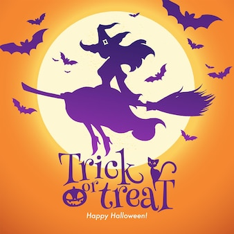 Halloween greeting banner of witch fly on a broom against full moon orange background