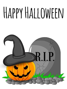 Halloween greeting card. cartoon style.