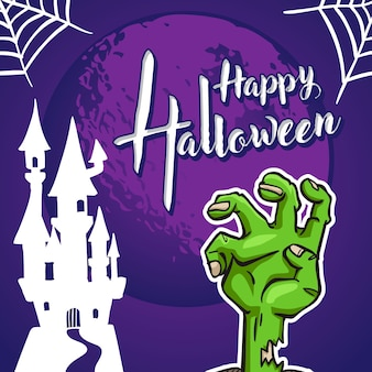 Halloween greeting card and halloween background