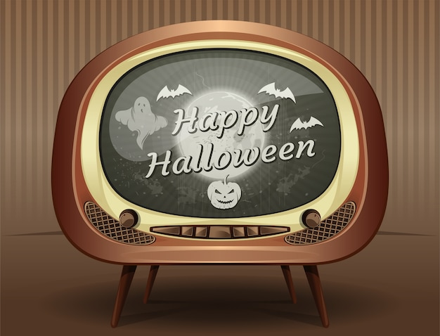 Halloween greeting card in retro style. congratulations with halloween on the screen of an old vintage tv.