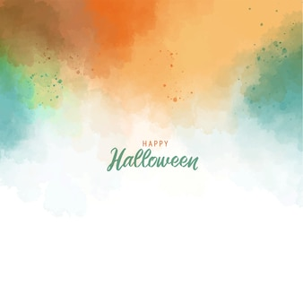 Halloween greeting card template green orange abstract splash paint background with watercolor texture