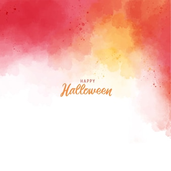 Halloween greeting card template orange red abstract splash paint background with watercolor texture