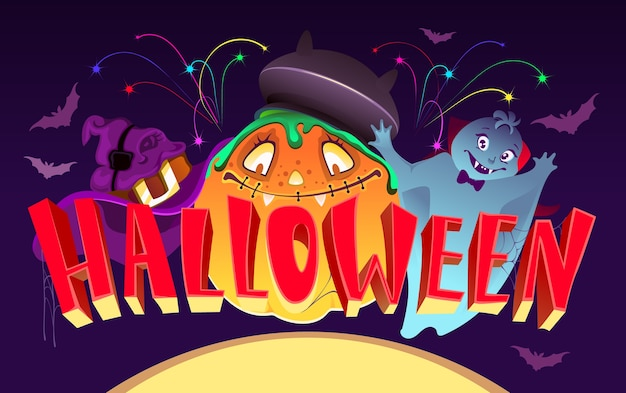 Хэллоуин шаблон поздравительной открытки плакат текст надписи. забавные монстры маскируются под тыкву и привидение. иллюстрации шаржа