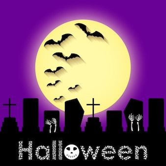 Halloween greeting card template with purple sky, moon, graveyard and bats