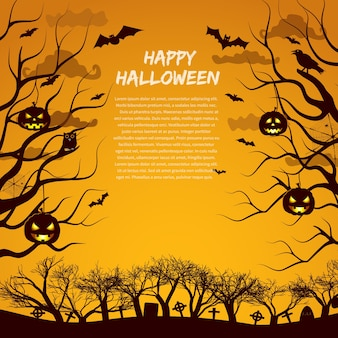 Halloween greeting card template with silhouettes of trees and cemetery animals and lanterns