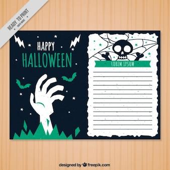 Halloween greeting card template Free Vector