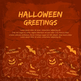 Halloween greeting card with animals lanterns of jack hands with bones on textured red background