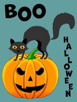 귀여운 고양이와 할로윈 인사말 카드입니다. 만화 스타일입니다. 벡터 일러스트 레이 션.