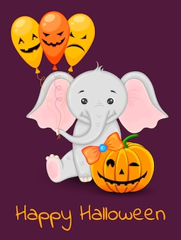 Halloween greeting card with cute elephant. cartoon style. vector illustration.