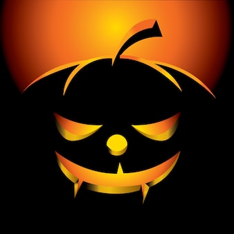 Halloween greeting card with scary pumpkin
