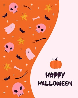 Halloween greeting card with text. vector illustration