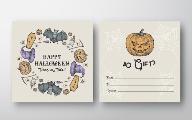 Halloween greeting gift card with typography and pumpkin, bats, spiders and candles wreath