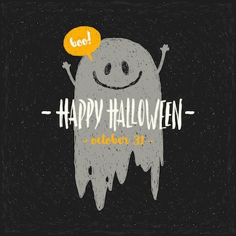 Halloween greeting illustration with hand drawn ghost