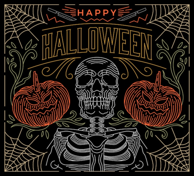 Halloween greeting line art