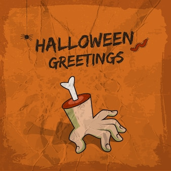 Halloween greetings design with severed hand hanging spider and worm