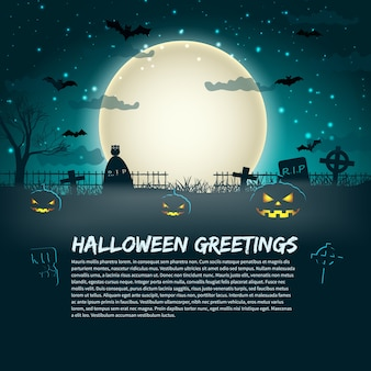 Halloween greetings poster with cemetery gravestones at glowing moon in star sky