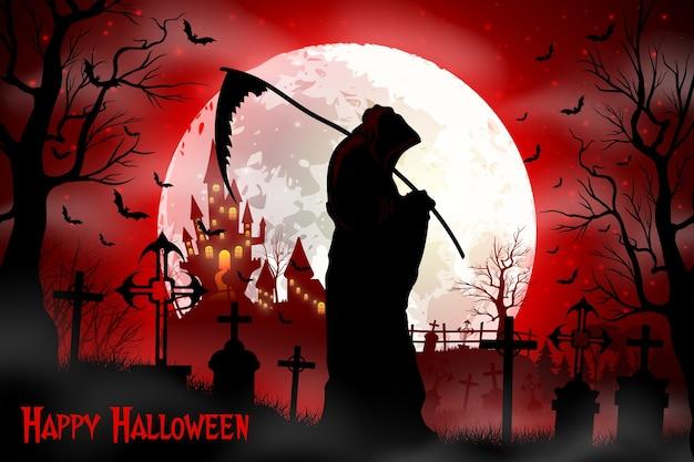 Halloween grim reaper holding scythe