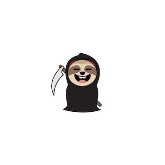 Halloween grim reaper sloth cartoon character