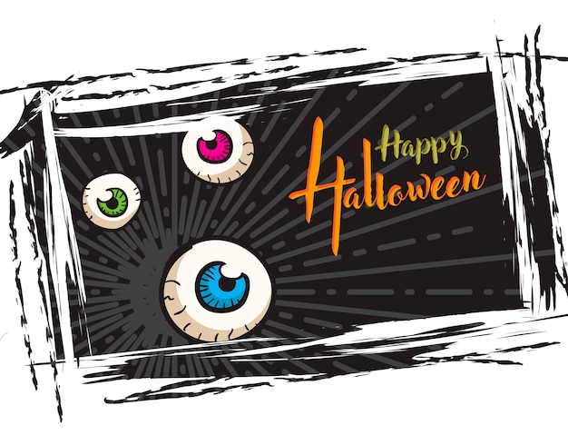 Halloween grunge background, with monster eyes