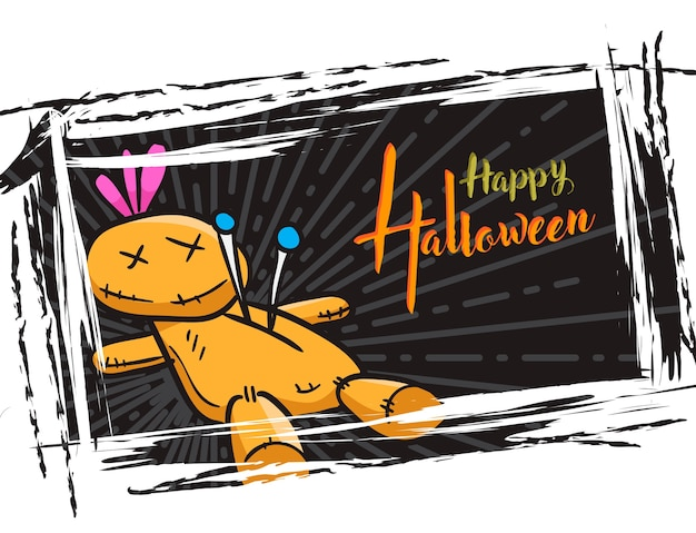Halloween grunge background, with voodoo doll