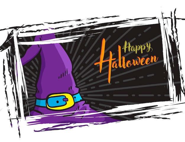 Halloween grunge background, with witch hat