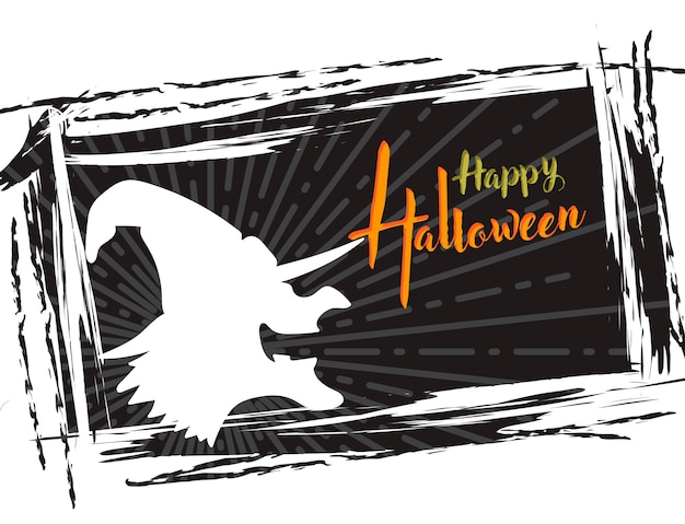 Halloween grunge background, with witch silhouette