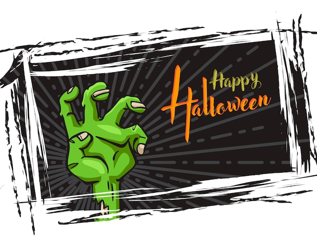 Halloween grunge background, with zombie hand