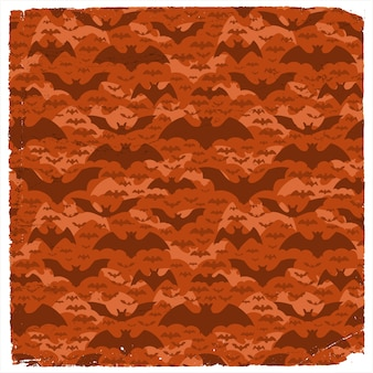Halloween grunge pattern with dark flying pipistrelles on red background flat